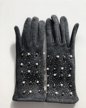 Little Red Kiss | Fashionable and Affordable Accessories | Grey Fleece Pearl Gloves