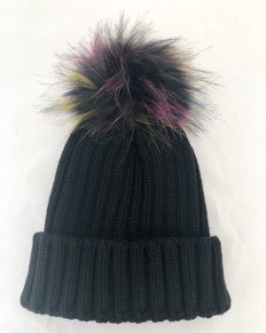 Little Red Kiss | Fashionable and Affordable Accessories | Cairo Black Cable Knit Bobble Hat with Multicoloured Pom Pom