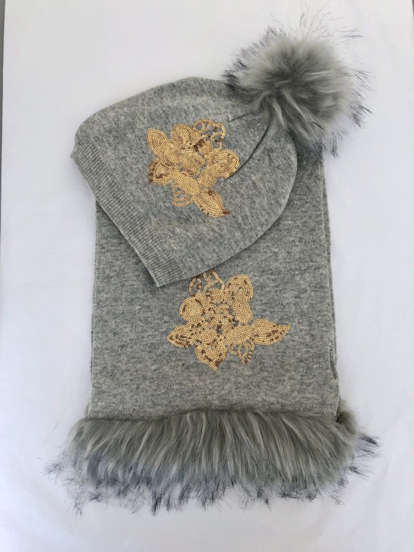Little Red Kiss | Fashionable and Affordable Accessories | Alma Grey and Gold Sequin Hat and Scarf Set