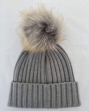 Little Red Kiss | Fashionable and Affordable Accessories | Chloe Cable Knit Silver Grey Bobble Hat with Beige faux Fur Pom Pom