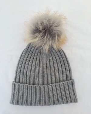 Little Red Kiss | Fashionable and Affordable Accessories | Chloe Cable Knit Silver Grey and Beige Bobble Hat