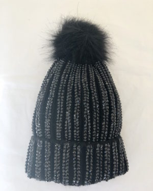 Little Red Kiss | Fashionable and Affordable Accessories | Anna Black and Gold Flecked hHt with Faux Fur Black Bobble