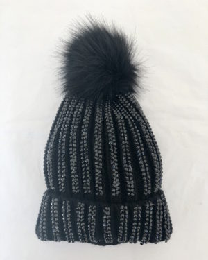 Little Red Kiss | Fashionable and Affordable Accessories | Anna Black Sparkly Bobble Hat with Black Faux Fur Pom Pom