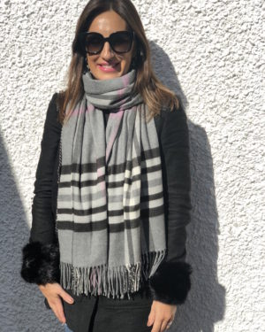 Little Red Kiss | Fashionable and Affordable Scarves | Fraas Soft Grey Check Scarf