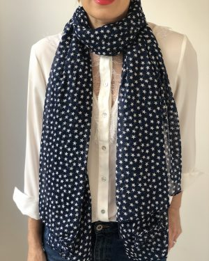 Little Red Kiss | Fashionable and Affordable Scarves | Fine Cotton Blue Summer Scarf