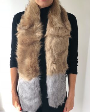 Little Red Kiss | Fashionable and Affordable Scarves | Petra Beige and Grey Faux Fur Warm Scarf