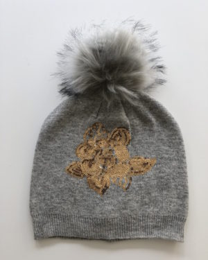 Little Red Kiss | Fashionable and Affordable Accessories | Alma Grey, Gold Sequins Embellished Hat with Grey Faux Fur Bobble