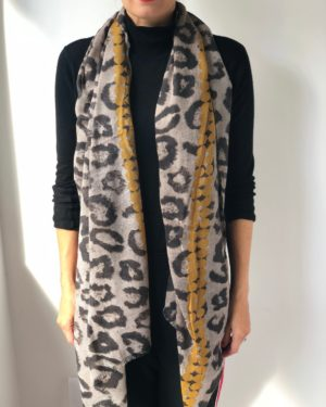 Little Red Kiss | Fashionable and Affordable Scarves | Capri Animal Print with Mustard Detail Cotton Scarf