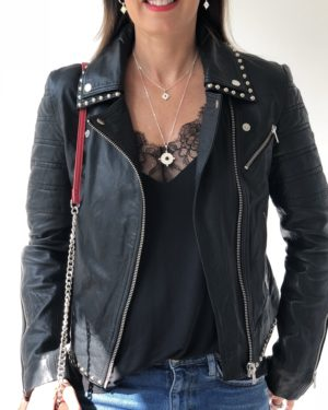 Little Red Kiss | Fashionable and Affordable Accessories | black studded leather jacket