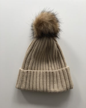 Little Red Kiss | Fashionable and Affordable Accessories | Chloe Beige and Brown Bobble Faux Fur Hat