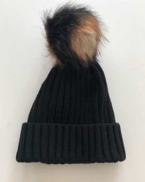 Little Red Kiss | Fashionable and Affordable Accessories | Chloe Black Bobble Hat with Black and Beige Faux Fur Bobble
