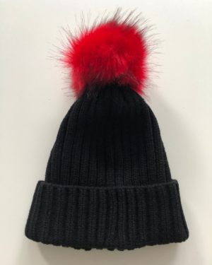 Little Red Kiss | Fashionable and Affordable Accessories | Chloe Black Pom Pom Cable Knit Beanie Hat with Detatchable Red Faux Fur Pom Pom