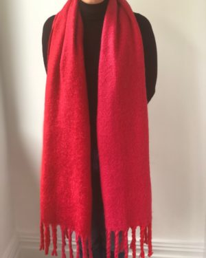 Little Red Kiss | Fashionable and Affordable Scarves | Lovely, Chunky Red Pink Warm Scarf with Tassles