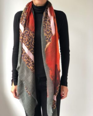 Little Red Kiss | Fashionable and Affordable Scarves | Becksondergaard Multicolour Forest Nights 100% Wool Print Scarf