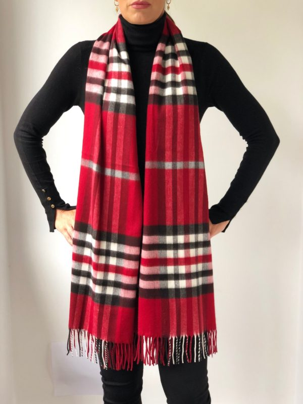 Little Red Kiss | Fashionable and Affordable Scarves | Fraas Soft Red Checked Scarf