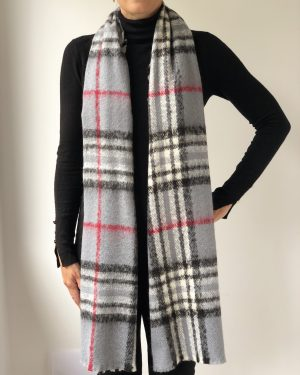Little Red Kiss | Fashionable and Affordable Scarves | Super Soft Grey Checked Scarf