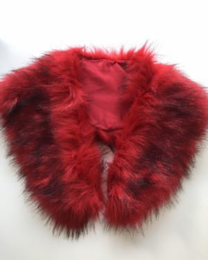 Little Red Kiss | Fashionable and Affordable Scarf | Alma Red faux Fur Collar