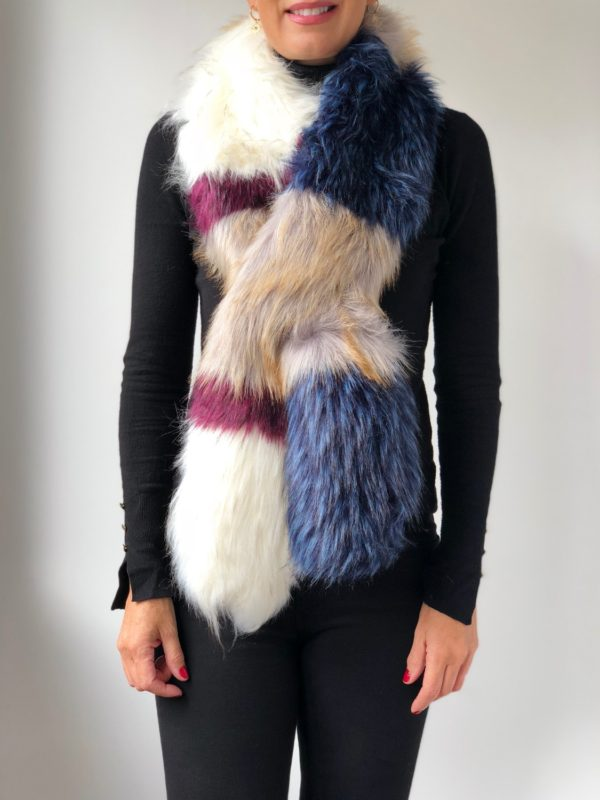 Little Red Kiss | Fashionable and Affordable Scarves | Gigi Faux Fur Multicoloured Scarf
