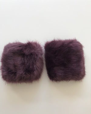 Little Red Kiss | Fashionable and Affordable Accessories | Monore Plum Faux Fur Cuffs