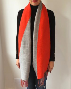 Little Red Kiss | Fashionable and Affordable Scarves | Venus Orange and Grey Printed Reversible Warm Scarf