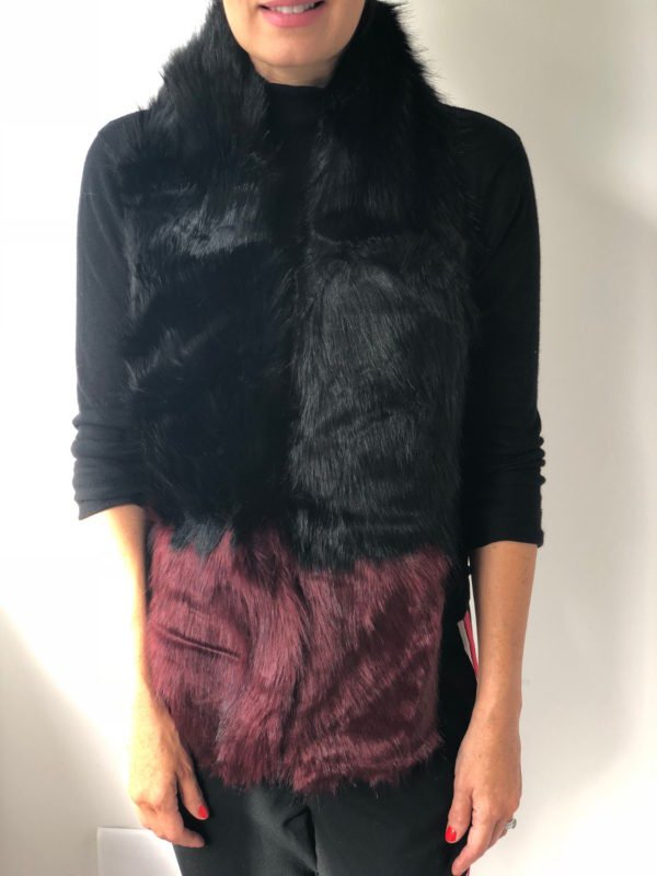 Little Red Kiss | Fashionable and Affordable Scarves | Victoria Black and Burgundy Faux Fur Scarf