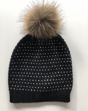 Little Red Kiss | Fashionable and Affordable Accessories | Willow, Black and Beige Faux Fur Sparkle Hat