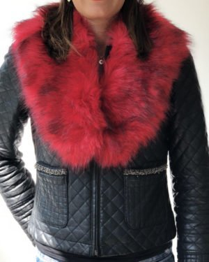 Little Red Kiss | Fashionable and Affordable Accessories | Gia Red Faux Fur Collar