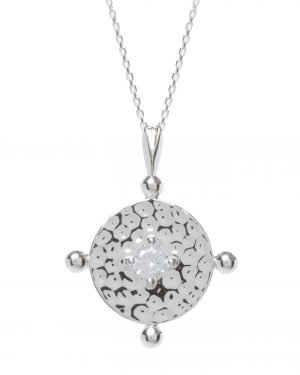 Little Red Kiss | Fashionable and Affordable Accessories | Amalfi Silver Coin Necklace with Clear Cubic Zirconia
