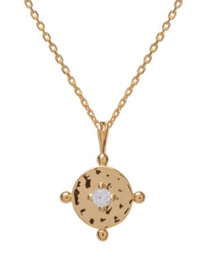 Little Red Kiss | Fashionable and Affordable Accessories | Amalfi Coin Gold Necklace with Clear Zirconia