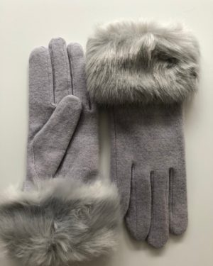 Little Red Kiss | Fashionable and Affordable Accessories | Monroe Luxury Wool Grey Faux Fur Gloves Faux Fur