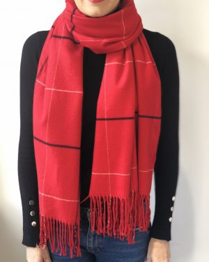 Little Red Kiss | Fashionable and Affordable Scarves | Red Checked Tori Scarf