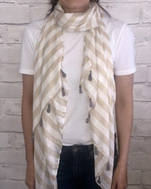 Little Red Kiss | Fashionable and Affordable Accessories | Beige and white striped scarf