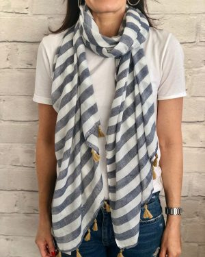 Little Red Kiss | Fashionable and Affordable Accessories | Cannes blue white stripes tassels summer scarf