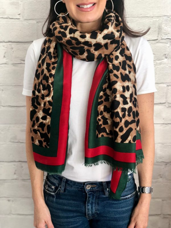 Little Red Kiss | Fashionable and Affordable Accessories | Leopard print red green scarf