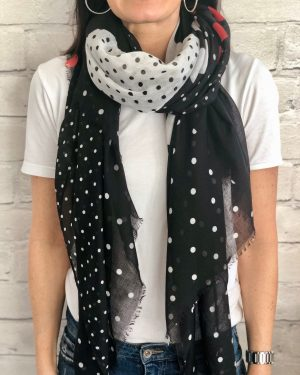 Little Red Kiss | Fashionable and Affordable Accessories | Dotty polkadot black white red scarf