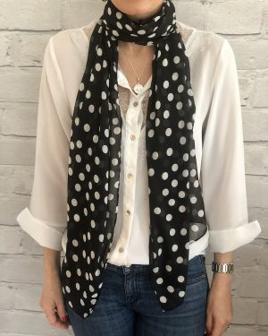 Little Red Kiss | Fashionable and Affordable Accessories | Fraas polka dot black white scarf