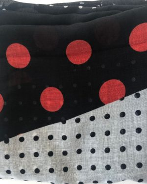 Little Red Kiss | Fashionable and Affordable Accessories | Polka dot black white red print scarf