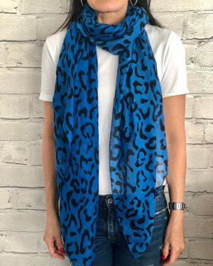 Little Red Kiss | Fashionable and Affordable Accessories | Rio blue black print scarf