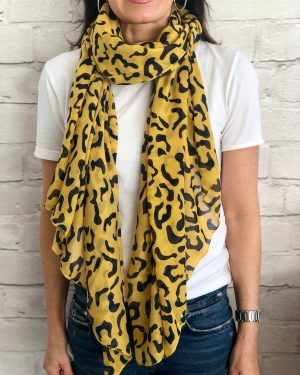 Little Red Kiss | Fashionable and Affordable Accessories | Rio yellow print black scarf
