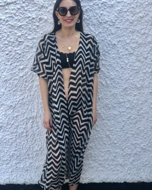 Little Red Kiss   Fashionable and Affordable Accessories   Black and white beach coverup