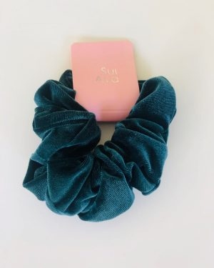 Little Red Kiss | Fashionable and Affordable Accessories | Teal Velvet Hair Scrunchie