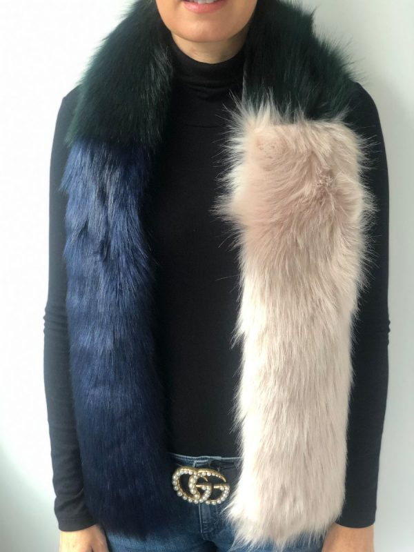 Little Red Kiss | Fashionable and Affordable Accessories | Stylesnob Copenhagen Green Blue Faux Fur Wrap