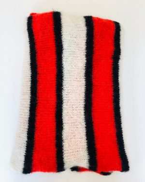 Little Red Kiss | Fashionable and Affordable Accessories | Becksondergaard Gloria Red White Balck Striped Scarf