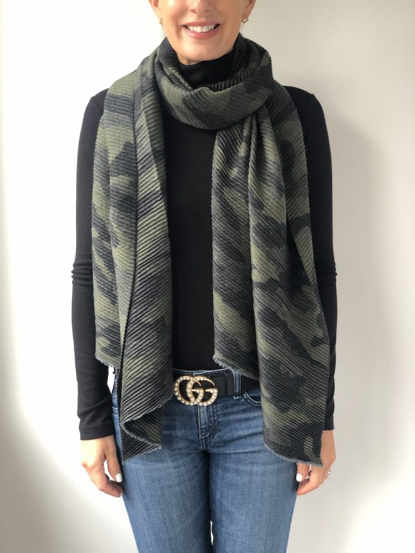 Little Red Kiss | Fashionable and Affordable Accessories | Camo Olive Green and Black Printed Scarf