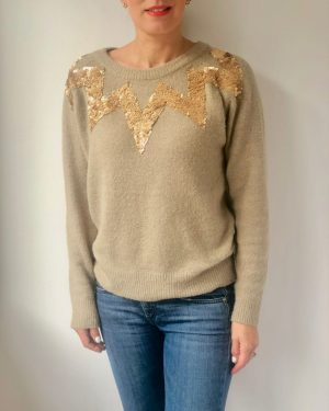 Little Red Kiss | Fashionable and Affordable Accessories | Culture Taupe Sequin Sparkle Jumper