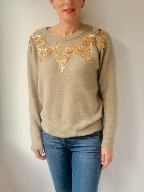 Little Red Kiss   Fashionable and Affordable Accessories   Culture Taupe Sequin Sparkle Jumper