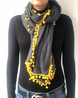 Little Red Kiss | Fashionable and Affordable Accessories | Florence Grey Mustard Pom Pom Scarf