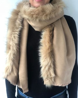 Little Red Kiss | Fashionable and Affordable Accessories | Fraas Beige Caramel Faux Fur wrap