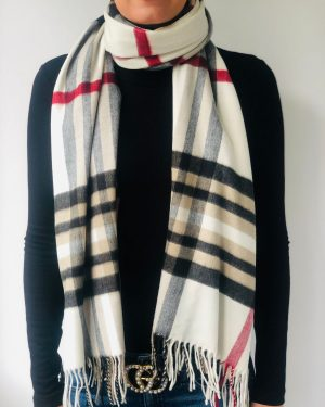 Little Red Kiss | Fashionable and Affordable Accessories | Fraas Cream Black and Red Check Scarf