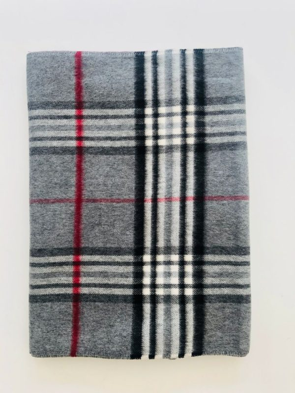 Little Red Kiss | Fashionable and Affordable Accessories | Fraas Grey White and Red Double Check Scarf